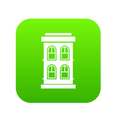 Two-storey house with large windows icon digital vector