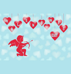 valentines day card with red cupid and hearts vector image