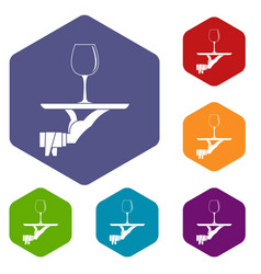 Waiter hand holding tray with wine glass icons set vector