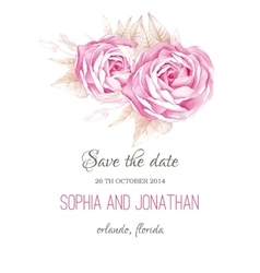 Wedding invitation watercolor with flowers vector image