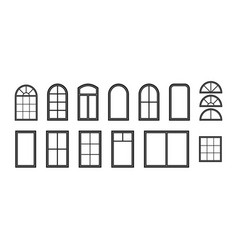 window frame silhouette outline icon vector image