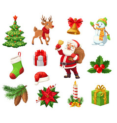 winter christmas holiday objects isolated vector image