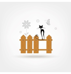 Wooden Boards Cat Fence vector image
