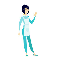 young asian cleaner waving her hand vector image