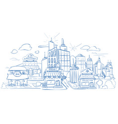 city landscape with modern buildings pencil sketch vector image vector image