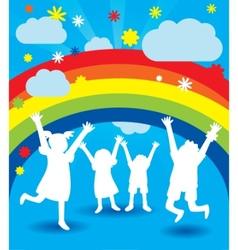 happy kid silhouettes vector image