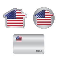 Home icon on the USA flag vector image vector image
