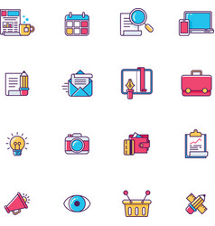 linear universal web page symbols vector image vector image