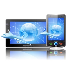 mobile tablet and plane vector image