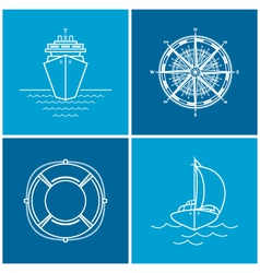 Set of maritime icons vector image vector image