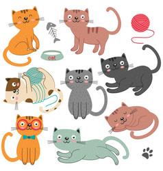 set of of isolated cats character vector image