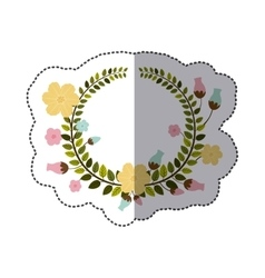sticker colorful border of leaves with pastel vector image vector image