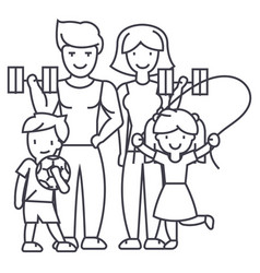 active happy family in sport gym line icon vector image