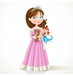 Beautiful little princess in tiara holding soft vector
