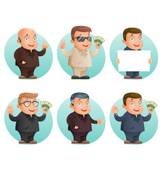 businessman mascot professional hand gestures vector image