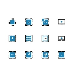 Computer microchip CPU duotone icons on white vector image vector image