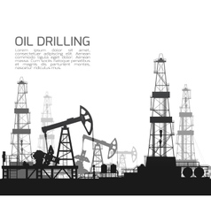 Drilling rigs and oil pumps isolated on white vector image vector image