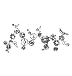 Glossy metal cogwheels arranged in complicated vector