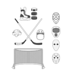 Set of Hockey Elements vector image