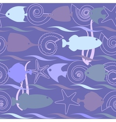 Shells and fish seamless pattern vector image