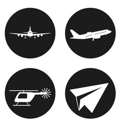 transportation icons set helicopter plane paper vector image vector image