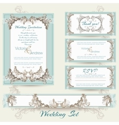 Wedding collection in mint color vector image vector image