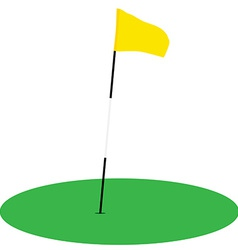 Yellow golf flag on green grass vector image