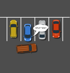 bad car parking top view vector image