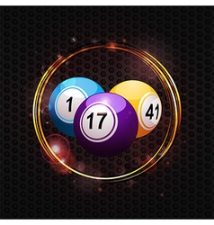 Bingo balls over glowing circle background vector image