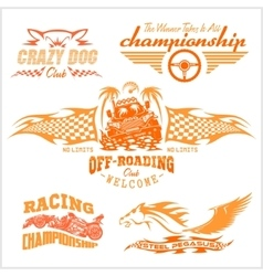 Set of off-road suv car emblems and badges vector image vector image
