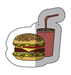 color hamburger and soda flat icon vector image vector image