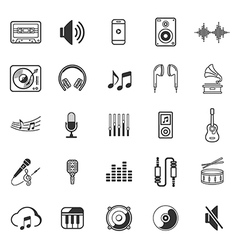 music icons set thin lines style of symbol vector image