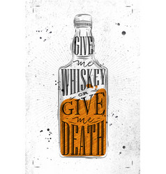 poster give me whiskey paper vector image