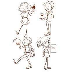 Simple drawings of waiters and waitresses vector image