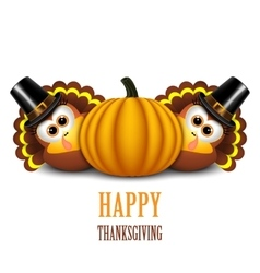 Thanksgiving turkeys with pilgrim hat and pumpkin vector image vector image