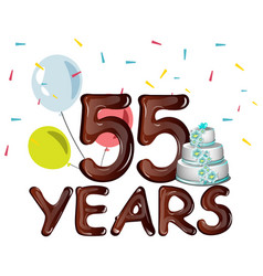 55 years anniversary celebration card with ballons vector image