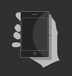 a black smartphone in the hand with a blank screen vector image