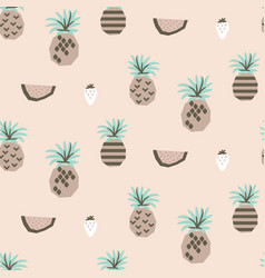 Abstract pineapples and watermelon seamless vector