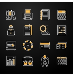 Accauntant linear flat icon set vector