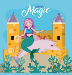 Beautiful and magic mermaid cartoon vector
