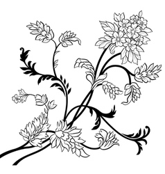 black outline flower elements vector image