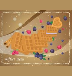 cafe dessert banner food waffle menu vector image
