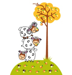 cartoon sheep and apples vector image vector image