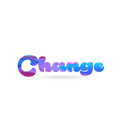 Change pink blue color word text logo icon vector