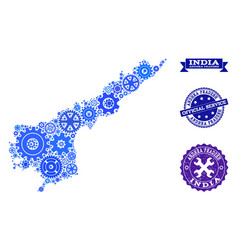 Collage map of andhra pradesh state with cogs and vector