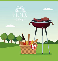 Colorful poster scene landscape of picnic day with vector