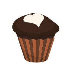 Delicious chocolate cupcake vector