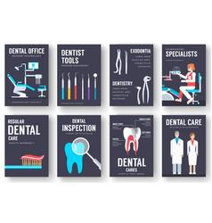 dental office interior information cards set vector image