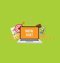 Digital asset concept with laptop text on screen vector