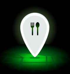 Digital map pin 24 hrs night eatery vector image